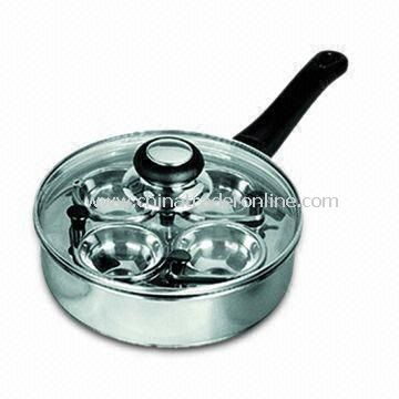 Popular 18cm Stainless Steel Egg Poacher with Glass Lid, Includes Four Egg Cups from China