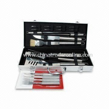 20pcs Barbecue Tool Set in Aluminum Case, with SS 18/0 Handle, FDG, SGS and LFGB-marked