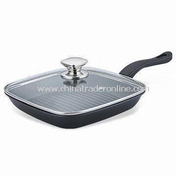 24/28cm Grill Pan with Square Glass Lid, Made of Aluminum