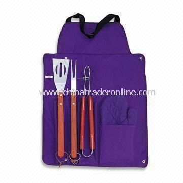 4 Pieces BBQ Tool Set with Wooden Handle