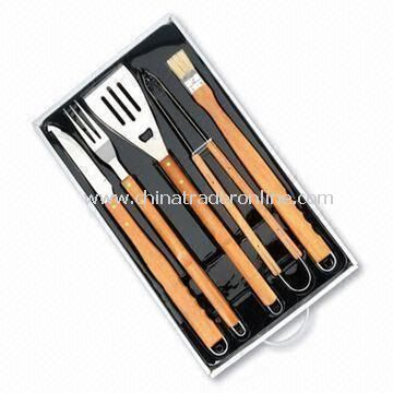 5pcs Wood Handle BBQ Tool Set with PVC Tray Set
