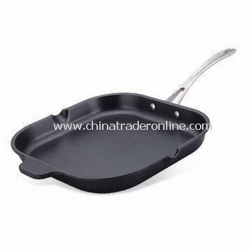 Aluminum Grill Pan with Ridged Frying Surface and 4.3cm Height