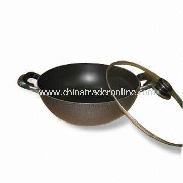 Aluminum Wok with Side Ear, Non-Stick Coating, Fast Heat Transfer, Corrosion Resistant