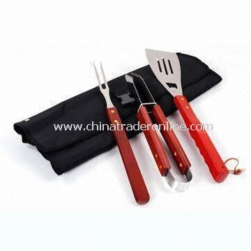 Barbecue Tool Set, Includes Spatula, Fork, and Tongs