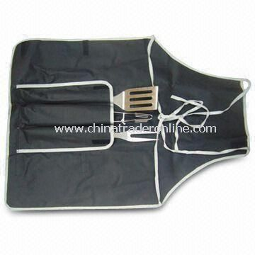 Barbecue Tool Set with Hard Wood Handle, Made of Stainless Steel Material from China