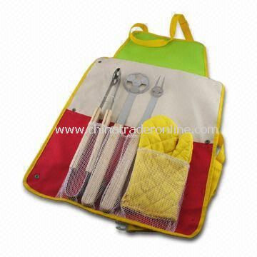 BBQ Set with Apron, Made of Stainless Steel, Includes Fork, Spatula, Tong and A Glove
