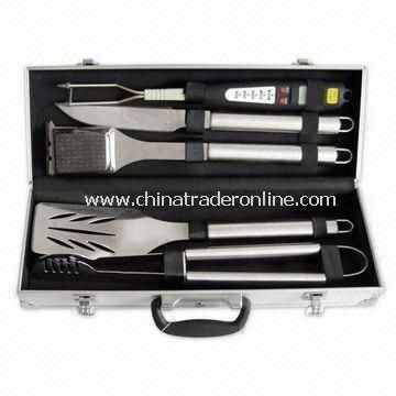 BBQ Tools Set with 5 Pieces of Stainless Steel Tube Handles and Aluminum Cases
