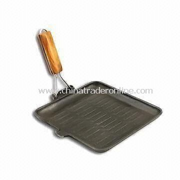Cast Iron Grill Pan with Vegetable Oil Coating, Measures 24 x 24cm