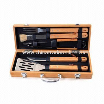 Eco-friendly Bamboo Handle BBQ Tool Set, Includes Spatula, Fork, Basting Brush, and Cutting Knife