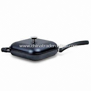 Grill Pan with Bakelite Handle, Made of Die-cast Aluminum, Suitable for Oven