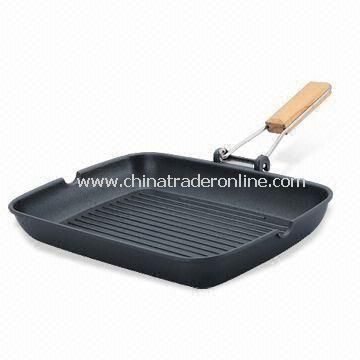 Grill Pan with Foldable Wooden Handle, Made of Aluminum
