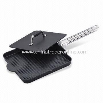 Grill Pan with Ridged Frying Surface, Made of Aluminum