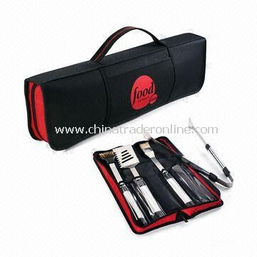 Picnic Barbecue Bag with 1.5mm Stainless Steel Blade and Tong with Wooden Handle