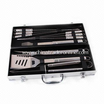 Plastic Handle Barbecue Tool Set in Gift Box, with 420 Stainless Steel Functional Part