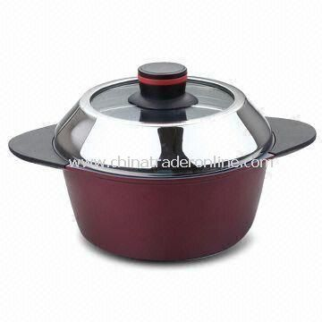 2011New Design,Aluminum Die-cast Casserole with Glass Lid and s/s Knob