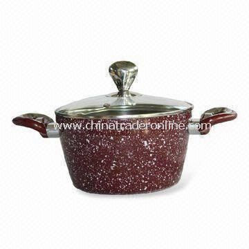 Forged Aluminum Casserole with 2-layer Non-stick Coating Inside, Customized Colors are Accepted