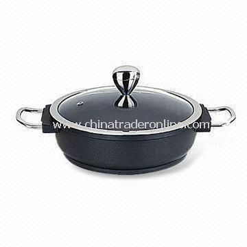 Shallow Casserole with Optional Color and Stainless Steel Handle, Made of Die-cast Aluminum