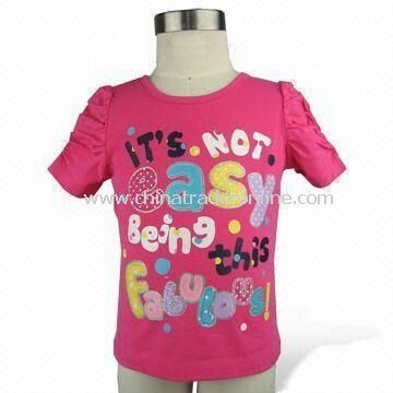 Girls T-shirts, Made of 160g Cotton Jersey, Available in Various Colors