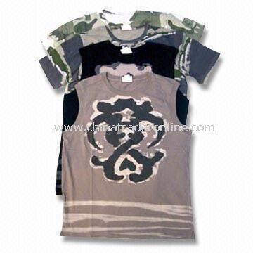 Mens Knitted Cotton T-shirts Available with Water Printing, Rubber Printing and Transfer Printing