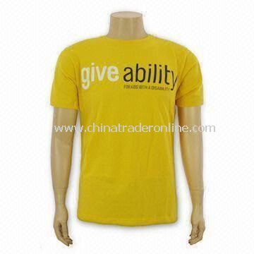 Mens Promotional T-shirts, Made of 100% Combed Cotton, with Reactive Dyed