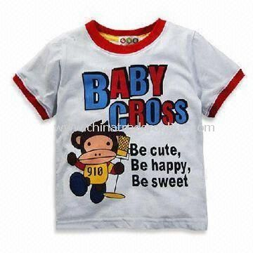 Round Neck Baby T-shirts, Made of 100% Combed Cotton, Available in Various Colors and Sizes