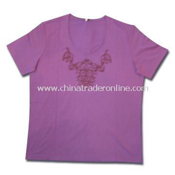 T-shirts, Made of 65% Cotton and 35% Polyester, Suitable for Women