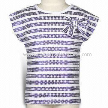 Toddler Girls Tee with Spot Foil Printing, Made of 180g Cotton Jersey, Available in Various Colors