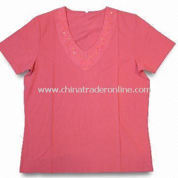 Womens Half-sleeve T-shirts, Weighs 160gsm, Made of 65% Cotton and 35% Polyester