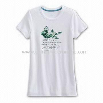 Womens T-shirt, Made of Cotton, Customers Requests Accepted from China