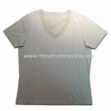 Womens T-shirts, Made of 65% Cotton and 35% Polyester, Weighs 160gsm