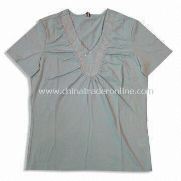 Womens V-neck T-shirts, Made of 65% Cotton and 35% Polyester