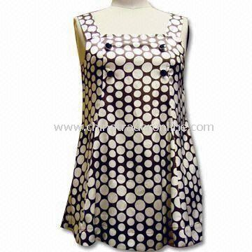 100% Polyester Womens Skirts/Casual Dress with White and Chocolate Dot Prints