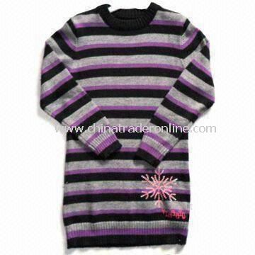 Baby Knitted Sweater with Gray, Black and Purple Stripes, Made of 65% Cotton and 35% Spandex