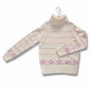 Baby Knitted Sweater with Turndown Collar, Made of 60% Rayon and 40% Cotton