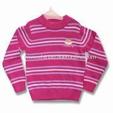 Baby Sweater with Crew Neck, Made of Cotton, Available in Various Sizes from China