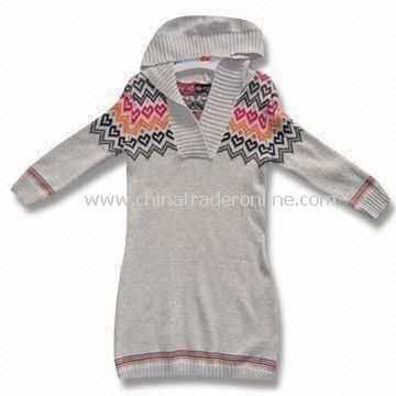 Baby Sweater with V-collar Cardigan and Cap, Made of 60% Rayon and 40% Cotton