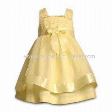 Girls Yellow Organza Sleeveless Dress, with Crinoline Skirt, Available in 2 to 6 and 7 to 16