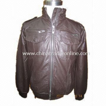 Mens Fake Leather Jacket with Polyester Padding and 100% Cotton Checked Fabric Body