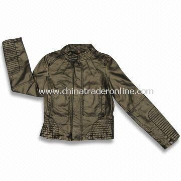 PU Coated Leather Womens Jacket, Customized Styles, Colors and Sizes are Welcome