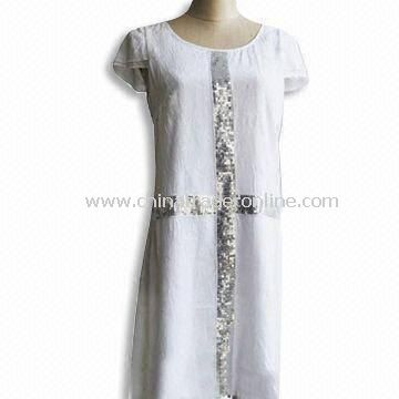 Short Sleeves Womens Skirt/Casual Dress, Made of Polyester Crinkle with Embroidery