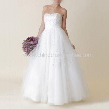 Wedding Dress with Airy Skirt and Gorgeous Beading, Made of Tulle and Satin