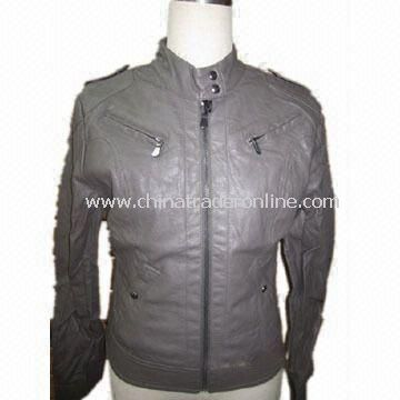 Womens Fake Leather Jacket with 210T 100% Polyester Taffeta Lining, Customized Sizes are Accepted from China