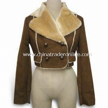 Womens Winter Short Jacket with Poly Suede Outer Fabric and Fake Fur Bounded Inner