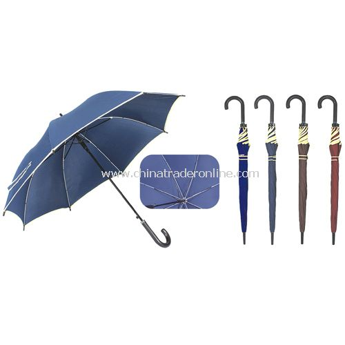 Automatic Fiberglass Ribs Navy Beige Piping Straight Rain Umbrella