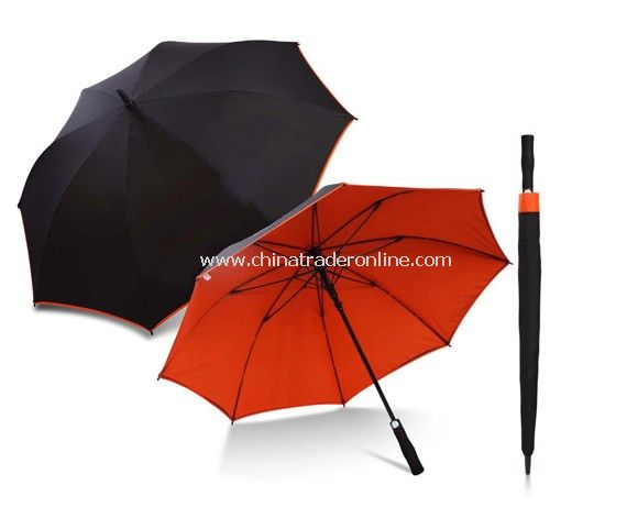 Automatic Open Fiberglass Frame Black Orange Two Layers Golf Umbrella