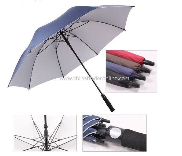 Automatic Open Silver Coated Pongee Fabric Golf Umbrella