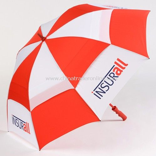 Double Layers Red White Promotional Golf Umbrella from China