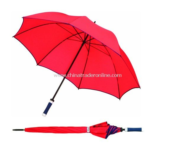 Manual Open Black Steel Frame Double Ribs Red Golf Umbrella