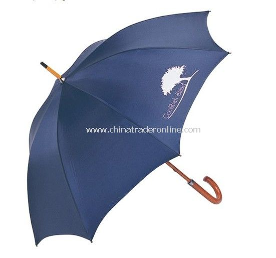 Silk Screen Printing Wooden Shaft Promotional Straight Umbrella from China