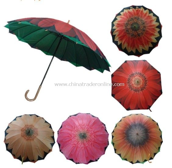 Big Flower Printed Double Canopy Straight Umbrella